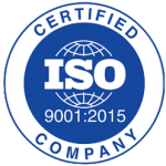 ISO Certification Logo 9001:2015 blue and white circle