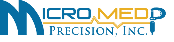 Micro Med Precision Logo yellow and blue font